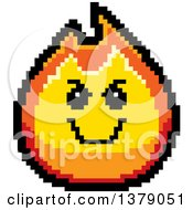 Grinning Evil Fire Character In 8 Bit Style