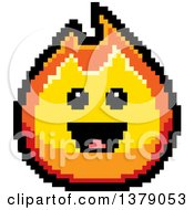 Happy Fire Character In 8 Bit Style