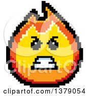 Mad Fire Character In 8 Bit Style