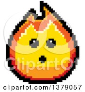 Surprised Fire Character In 8 Bit Style