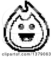 Black And White Happy Fire Character In 8 Bit Style