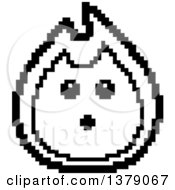 Black And White Surprised Fire Character In 8 Bit Style