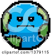 Clipart Of A Serious Earth Character In 8 Bit Style Royalty Free Vector Illustration