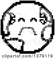 Black And White Crying Earth Character In 8 Bit Style