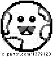 Black And White Happy Earth Character In 8 Bit Style