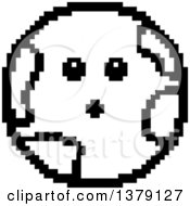 Black And White Surprised Earth Character In 8 Bit Style