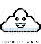 Happy Cloud Character In 8 Bit Style