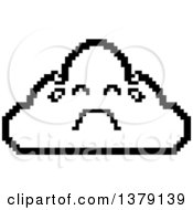 Black And White Crying Cloud Character In 8 Bit Style