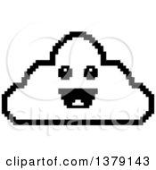 Black And White Happy Cloud Character In 8 Bit Style