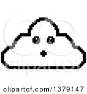 Black And White Surprised Cloud Character In 8 Bit Style