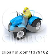 Poster, Art Print Of 3d Yellow Bird Operating A Tractor On A White Background