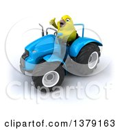 Clipart Of A 3d Yellow Bird Operating A Tractor On A White Background Royalty Free Illustration