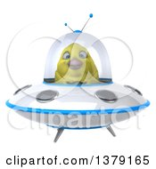 Clipart Of A 3d Yellow Bird Flying A Ufo On A White Background Royalty Free Illustration