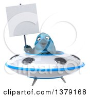 Clipart Of A 3d Blue Bird Flying A Ufo On A White Background Royalty Free Illustration