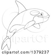 Clipart Of A Black And White Cute Leaping Orca Killer Whale Royalty Free Vector Illustration