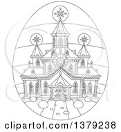 Clipart Of A Black And White Church On An Easter Egg Royalty Free Vector Illustration