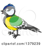 Clipart Of A Cute Tomtit Bird In Profile Royalty Free Vector Illustration