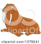 Clipart Of A Cute Brown Walrus Royalty Free Vector Illustration