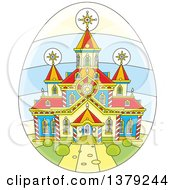 Clipart Of A Church On An Easter Egg Royalty Free Vector Illustration