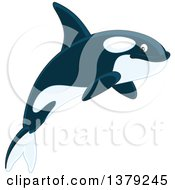 Clipart Of A Cute Jumping Orca Killer Whale Royalty Free Vector Illustration