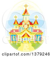 Clipart Of A Church On A Deorated Easter Egg Royalty Free Vector Illustration