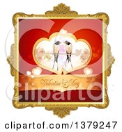 Poster, Art Print Of Gold Ornate Frame With Love Birds And Valentines Day Text