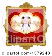Clipart Of A Gold Ornate Frame With Love Birds And Valentines Day Text Royalty Free Vector Illustration by merlinul