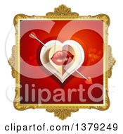 Clipart Of A Gold Ornate Frame With Lips Cupids Arrow And A Heart On Red Royalty Free Vector Illustration by merlinul
