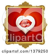 Clipart Of A Gold Ornate Frame With Lips On Red Royalty Free Vector Illustration