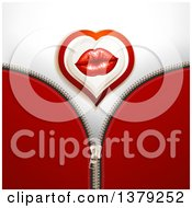 Clipart Of A Heart With Female Lips Over A Zipper Royalty Free Vector Illustration by merlinul
