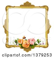 Clipart Of A Vintage Ornate Gold Picture Frame With Roses And A Butterfly Royalty Free Vector Illustration