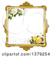 Vintage Ornate Gold Picture Frame With Roses And Butterflies