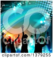Clipart Of A Background Of Silhouetted Dancers With Swooshes And Lights Royalty Free Vector Illustration