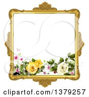 Clipart Of A Vintage Ornate Gold Picture Frame With Roses And Butterflies Royalty Free Vector Illustration