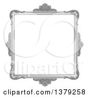 Clipart Of A Vintage Ornate Grayscale Picture Frame Royalty Free Vector Illustration