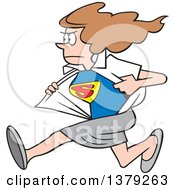 Cartoon Clipart Of A White Super Hero Woman Running And Changing From Her Typical Outfit To Her Suit Royalty Free Vector Illustration by Johnny Sajem