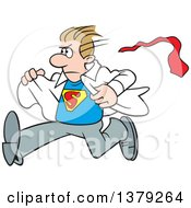 Cartoon Clipart Of A White Super Hero Man Running And Changing From His Typical Outfit To His Suit Royalty Free Vector Illustration by Johnny Sajem