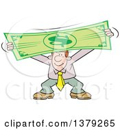 Cartoon Clipart Of A Pleased Caucasian Business Man Stretching The Dollar Royalty Free Vector Illustration by Johnny Sajem