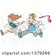Cartoon Clipart Of A White Super Hero Couple Running To The Rescue And Changing From Typical Outfits To Their Suits Royalty Free Vector Illustration