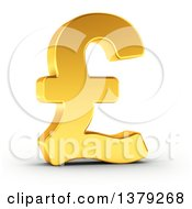 Clipart Of A 3d Golden Pound Currency Symbol On A Shaded White Background Royalty Free Illustration