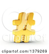 Clipart Of A 3d Golden Hashtag Pound Symbol On A Shaded White Background Royalty Free Illustration