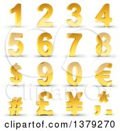 Clipart Of A 3d Golden Dollar Currency Symbol On A Shaded White Background Royalty Free Illustration by stockillustrations