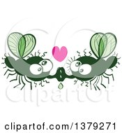 Clipart Of A Kissing Valentine House Fly Couple In Love Royalty Free Vector Illustration