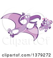 Clipart Of A Valentine Bat In Love With A Pterodactylus Royalty Free Vector Illustration by Zooco