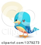 Clipart Of A Happy Talking Bluebird Royalty Free Vector Illustration by Qiun