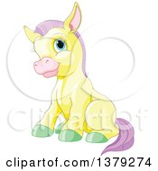 Clipart Of A Cute Sitting Yellow Pony Horse With Purple Hair And Green Hooves Royalty Free Vector Illustration by Pushkin