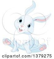 Clipart Of A Cute Pastel Blue Bunny Rabbit Sitting Royalty Free Vector Illustration