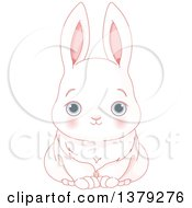 Clipart Of A Cute Blue Eyed White Bunny Rabbit Royalty Free Vector Illustration