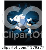 Clipart Of A Late White Rabbit Of Wonderland Running Over A Clock And Checkers Royalty Free Vector Illustration by Pushkin