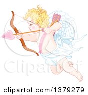 Clipart Of A Blond Caucasian Baby Cupid Aiming A Valentine Love Heart Arrow Royalty Free Vector Illustration